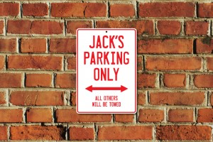 Jack's Parking Only Sign