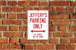 Jeffery's Parking Only Sign