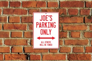 Joe's Parking Only Sign