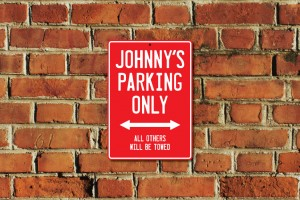 Johnny's Parking Only Sign