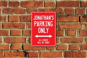 Jonathan's Parking Only Sign