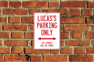 Lucas's Parking Only Sign