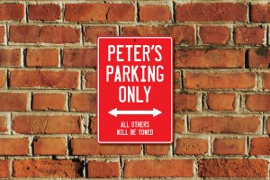 Peter's Parking Only Sign