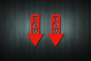 Tow (Facing Down) Vinyl Decal Stickers