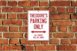 Theodore's Parking Only Sign