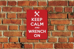Keep Calm and Wrench On Metal Sign