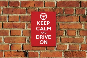 Keep Calm and Drive On Metal Sign