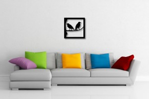 Two Birds on a Branch Square Decorative Wall Art