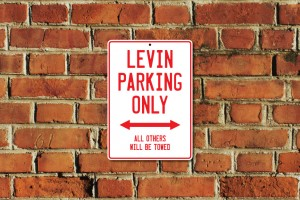 Levin Parking Only Sign