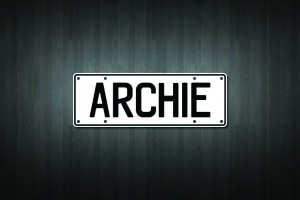 Archie Mini Licence Plate Vinyl Decal Sticker