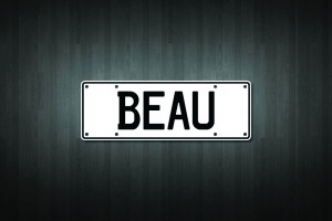 Beau Mini Licence Plate Vinyl Decal Sticker