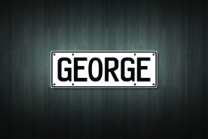 George Mini Licence Plate Vinyl Decal Sticker