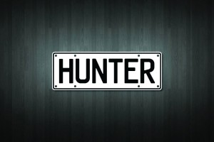 Hunter Mini Licence Plate Vinyl Decal Sticker