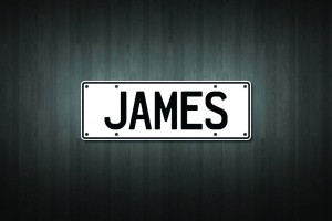 James Mini Licence Plate Vinyl Decal Sticker