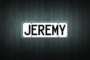 Jeremy Mini Licence Plate Vinyl Decal Sticker