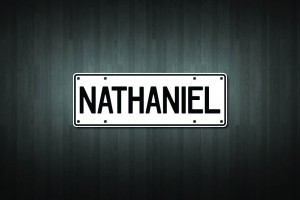 Nathaniel Mini Licence Plate Vinyl Decal Sticker