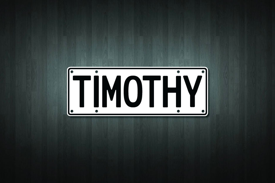 Timothy Mini Licence Plate Vinyl Decal Sticker