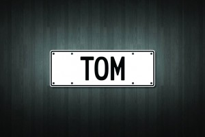 Tom Mini Licence Plate Vinyl Decal Sticker