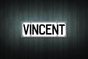 Vincent Mini Licence Plate Vinyl Decal Sticker
