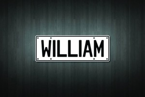 William Mini Licence Plate Vinyl Decal Sticker