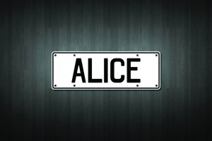 Alice Mini Licence Plate Vinyl Decal Sticker