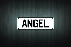 Angel Mini Licence Plate Vinyl Decal Sticker