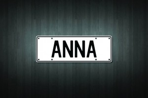 Anna Mini Licence Plate Vinyl Decal Sticker