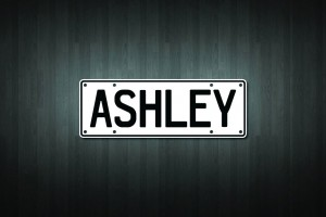 Ashley Mini Licence Plate Vinyl Decal Sticker