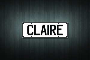 Claire Mini Licence Plate Vinyl Decal Sticker