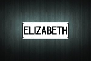 Elizabeth Mini Licence Plate Vinyl Decal Sticker