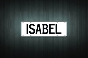 Isabel Mini Licence Plate Vinyl Decal Sticker