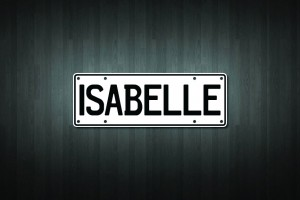 Isabelle Mini Licence Plate Vinyl Decal Sticker