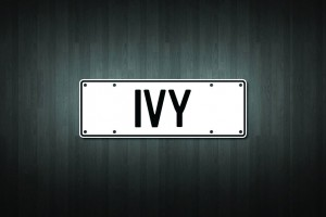 Ivy Mini Licence Plate Vinyl Decal Sticker