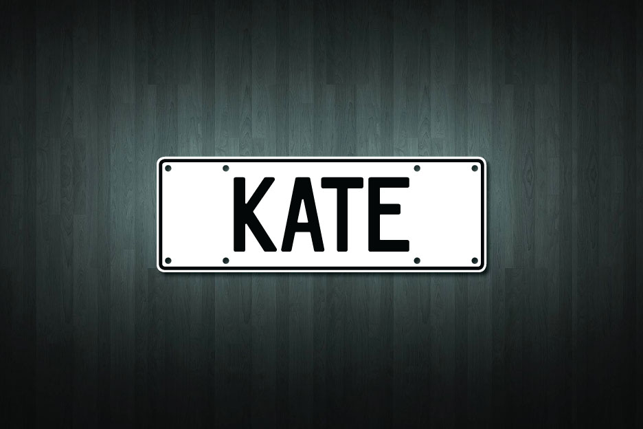 Kate Mini Licence Plate Vinyl Decal Sticker