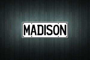 Madison Mini Licence Plate Vinyl Decal Sticker