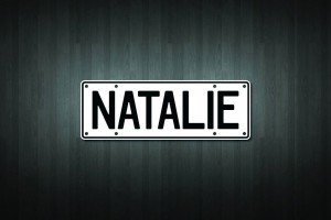 Natalie Mini Licence Plate Vinyl Decal Sticker