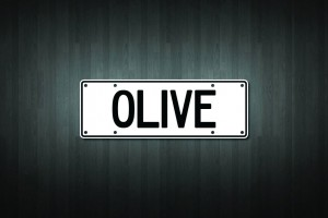 Olive Mini Licence Plate Vinyl Decal Sticker
