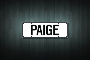 Paige Mini Licence Plate Vinyl Decal Sticker