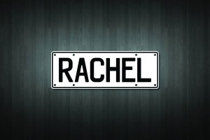 Rachel Mini Licence Plate Vinyl Decal Sticker