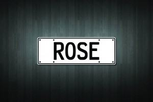 Rose Mini Licence Plate Vinyl Decal Sticker