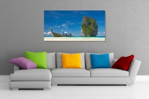 Boat and Tropical Island Wall Art