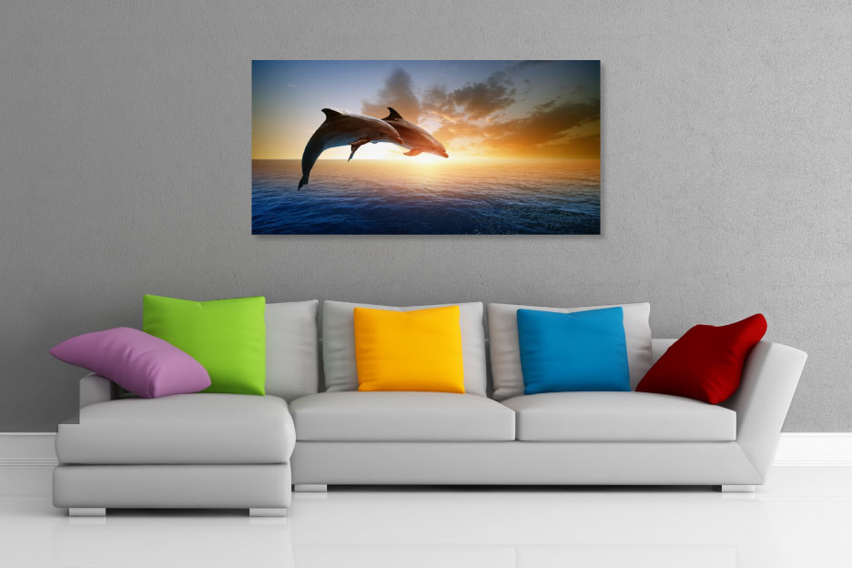 Dolphins Jumping at Sunset Wall Art