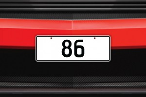 86 Licence Plate