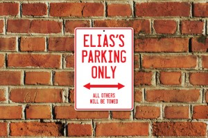Elias's Parking Only Sign